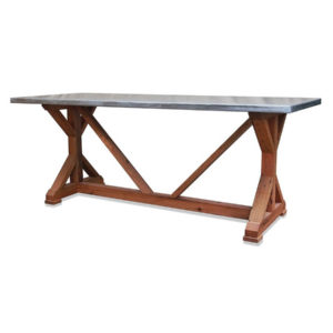 Zinc Top Trestle Table